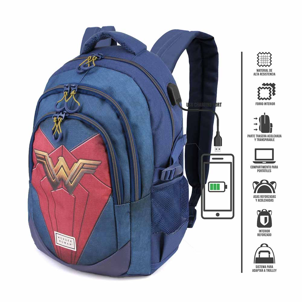 Mochila Escolar Running HS Wonder Woman Emblem